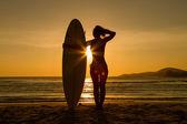 Vista trasera del surfista hermosa mujer joven sexy en bikini con tabla de surf blanco en una playa al atardecer o amanecer — Foto de Stock