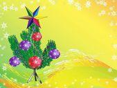 Julgran med julgranskula — Stockvektor