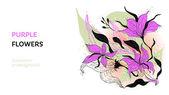 紫色的花. — 图库矢量图片