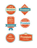 Retro vintage Premium Quality and Guarantee Labels — Stock vektor