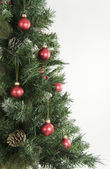 Christmas Tree and Red Decorations — Stock Photo