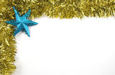 Tinsel and Star Christmas Decorations — Stock Photo