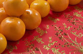 Mandarin Oranges and Chinese Money Wallets. Chinese New Year — Stock Photo