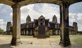 Bayon Temple with pool reflection, Angkor Wat, Cambodia — Stock Photo