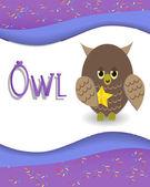 Animal alphabet owl — Stock Vector