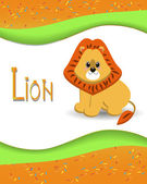 Animal alphabet lion with a colored background — Stock Vector