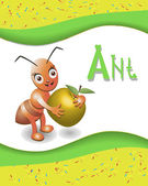 Animal alphabet ant with a colored background — Stockvector