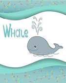 Animal alphabet whale with a colored background — Stock Vector