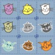 Collection of kittens of different colors — Stock Vector