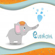 Animal alphabet elephant with a colored background — Stock Vector