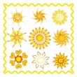 Stock Vector: Collection of the sun in ethno style