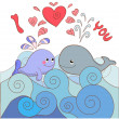 Lovers whales on a card for Valentine's day — Stock Vector