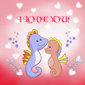 Lovers seahorses greeting card for Valentine's day — Stock Vector