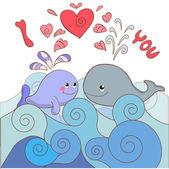 Liefhebbers walvissen op een kaart voor valentijnsdag — Stockvector