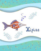 Letra del alfabeto animal x y xipias con un fondo de color — Vector de stock