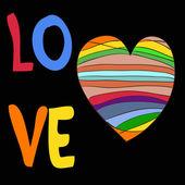 Rainbow heart with the inscription love — Stock Vector