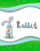 Animal alphabet letter R and rabbit — Vector de stock