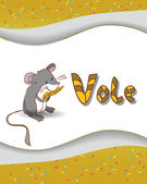 Animal alphabet letter V and vole — Vettoriale Stock