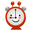 Smiling alarm clock on a light background — Stock Vector
