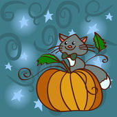 Cat on a pumpkin at the night sky with stars — Stock Vector