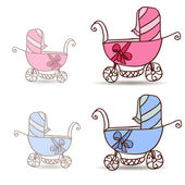 Baby stroller for girls and boys — Stock Vector