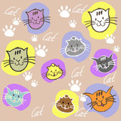 Seamless set different colors cats with inscription and paw prin — Stock Vector