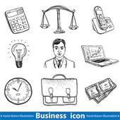 Business icons hand drawn — Cтоковый вектор