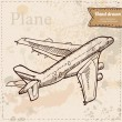 Biplane aircraft in flight hand drawn. Vintage style vector illustration. — Stock Vector #33948031