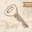 Key on vintage background hand drawn — Imagen vectorial