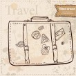 Travel Suitcase with stickers hand drawn — Stok Vektör
