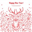 Christmas card with deer in vector, doodle hand drawn element — Imagen vectorial