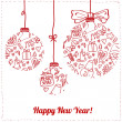 Christmas balls hanging with ribbon bows and snowflakes on white background — Imagen vectorial