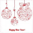 Christmas balls hanging with ribbon bows and snowflakes on white background — Image vectorielle