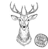 Deer head vector animal illustration for t-shirt. Sketch tattoo design. — Stock Vector