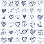 set de corazón doodle — Vector de stock  #36110487