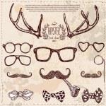 Hipster set: horns, glasses, mustache, bow. — Stock Vector #36832863
