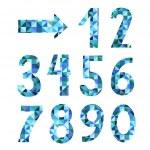 Vector textured geometric numbers set — Stock Vector
