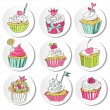 Sticker of colorful cupcakes — Stock Vector #36831477