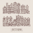 Vintage of houses in Amsterdam — Stock Vector