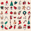 Christmas icon set in color. — Stock Vector