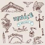 Vintage vector set of Venice — Stock Vector #36832085