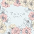 Thank you vector in floral frame  — Stock Vector