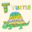T - kids alphabet turtle. — Stock Vector