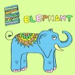 Stock Vector: E - kids alphabet elephant.