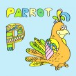 P - kids alphabet parrot. — Stock Vector
