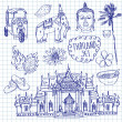 Illustration of vector set of Thailand with temple, buddha, elephant, traditional food and flower isolated — 图库矢量图片