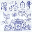 Illustration of vector set of Thailand with temple, buddha, elephant, traditional food and flower isolated — Stok Vektör