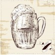 Vector illustration of cup of beer on vintage style with label — Stockvectorbeeld