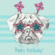 Vector illustration of funny pug dog in star pink glasses on blue background — Vector de stock