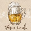 Vector illustration of colorful sketched cup of beer. — Stock Vector